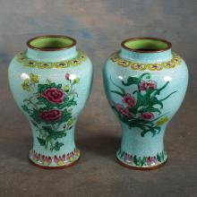 Pr Asian Enameled Vases   7.5