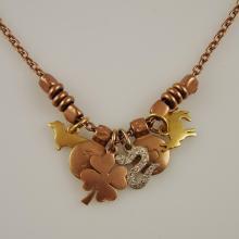 DoDo 18K Italian Rose Gold Necklace & Pendant w/5 Charms - Pendant Retails $2600.00