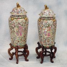 Pr Tall Lidded Asian Urns on Wood Stands   39