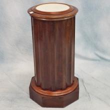 19th C Mahogany Marble-topped Column w/Basin Inside