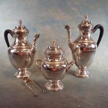 Early Silverplate Tea & Coffee Service Decorated w/Eagle Heads