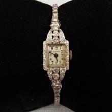 Vintage 14K W.G. Ladies' Watch w/Diamonds by Elesay