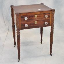 19th C Two Drawer Sewing Table w/Heavily Carved Legs & Original Glass Pulls