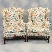 Pr Upholstered Wing Back Chairs (Poss. Baker)