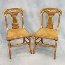 Mid 19th C Gilt Decorated Side Chairs