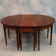 19th C American Solid Walnut 3pc Banquet Table      109