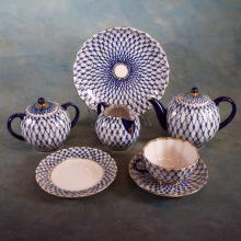 21pc Russian Hand Painted Porcelain Tea Set