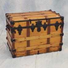 Mid 19th C Wooden Steamer Trunk w/Original Brass Label