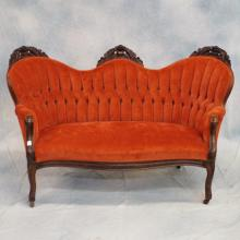 Victorian Carved & Upholstered Arm Chair & Settee