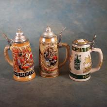 3 Ceramic Beer Steins w/Pewter Lids