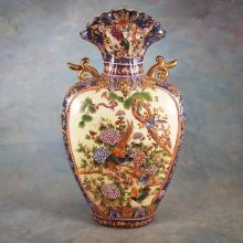 Hand Painted Asian Jar w/Handles   18.25