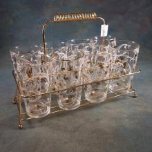 8 Vintage Hazel Atlas Bar Ware Glass Tumblers w/Gold Tone Metal Carrier - White Swirls and Gold Hearts Décor