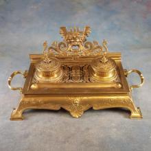 Heavy Ornate Brass Inkwell