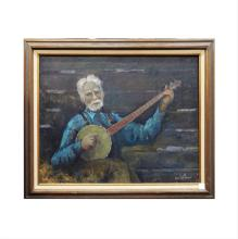 Framed Oil on Canvas of Banjo Player - Signed Francis Clark Brown (US 1908-1992)