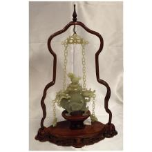 Oriental Carved Jade Hanging Censor w/Teak Wood Stand   12