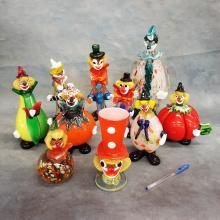 12 Art Glass Clowns (3 as-is)