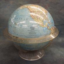 National Geographic Globe on Clear Plastic Stand  (stand has been repaired)  18