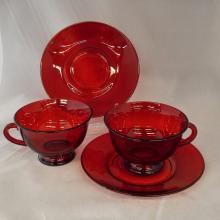 16pcs Ruby Glass; 10 Saucers & 6 Cups