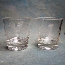 Set/8 Vintage Etched Glasses