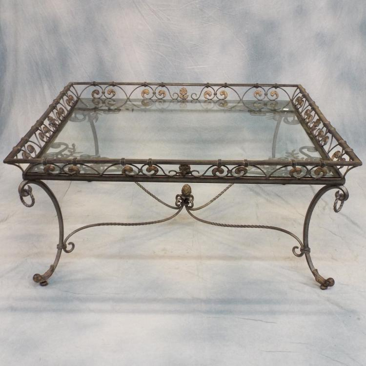 Glass top coffee table w iron base 52 for 52 glass table top