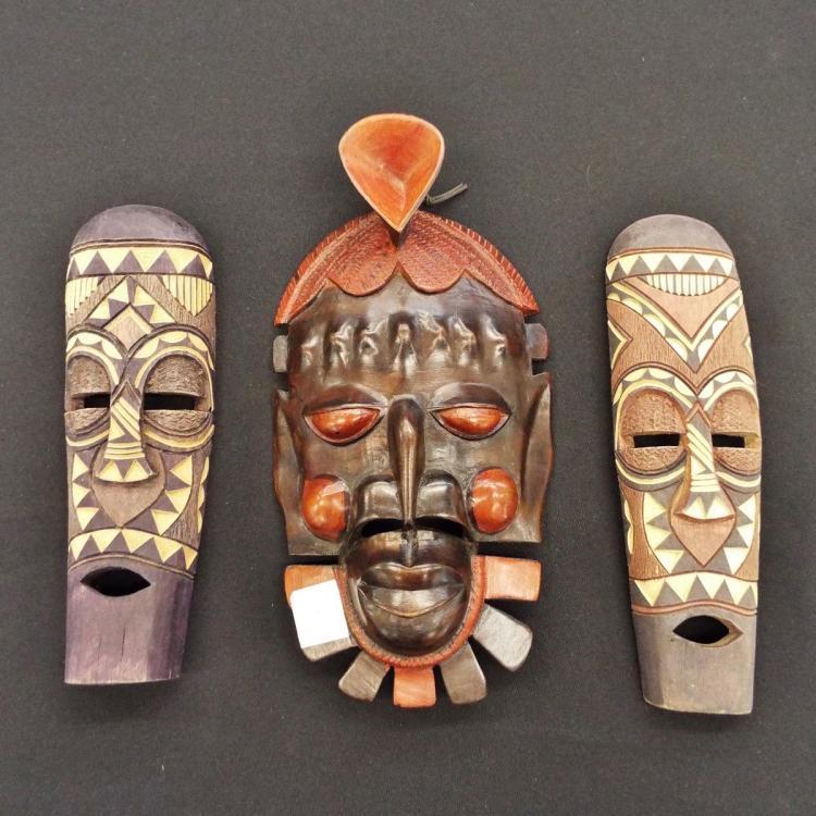 3 African Zulu Masks From Johannesburg, South Africa