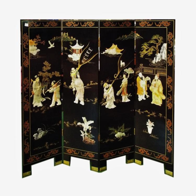 4 Panel Asian Folding Room Screen Hand Painted W Stone Appl