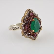 Ladies' Antique 14K Y.G. & Sterling Silver Ring w/2.50ct Pear Shaped Emerald, 0.25ctw Round Cut Rubies, & 0.75ctw Round Cut Diamonds - Appr $2350.00