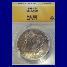 1885p Morgan Silver Dollar MS60 details (Cleaned)