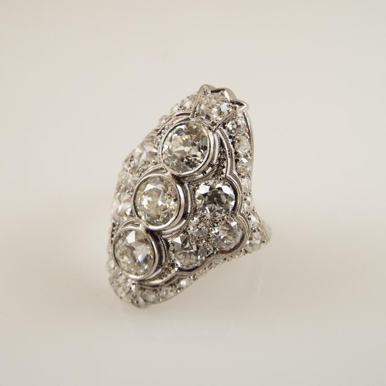 platinum antique style dinner ring w approx 4 82ctw