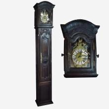 Early 19th C French Provincial Louis XV Tall Case Oak Clock (no pendulum or weights)