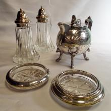 11 Silver & Glass Coasters, Glass Salt/Pepper Shakers w/Silverplate Tops, & Silverplate Teapot