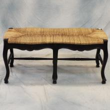 French Style Wicker & Wood Bench   42
