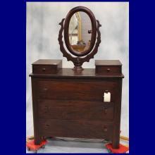 1860s American Dresser w/Glove Boxes & Mirror