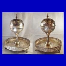 2 Silverplate Reticulated Spherical Lidded Bon Bon Dishes on Engraved Cake Trays 12