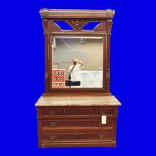 Antique Dresser w/Marble Top & Mirror