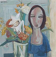 LADY AND FLOWERS