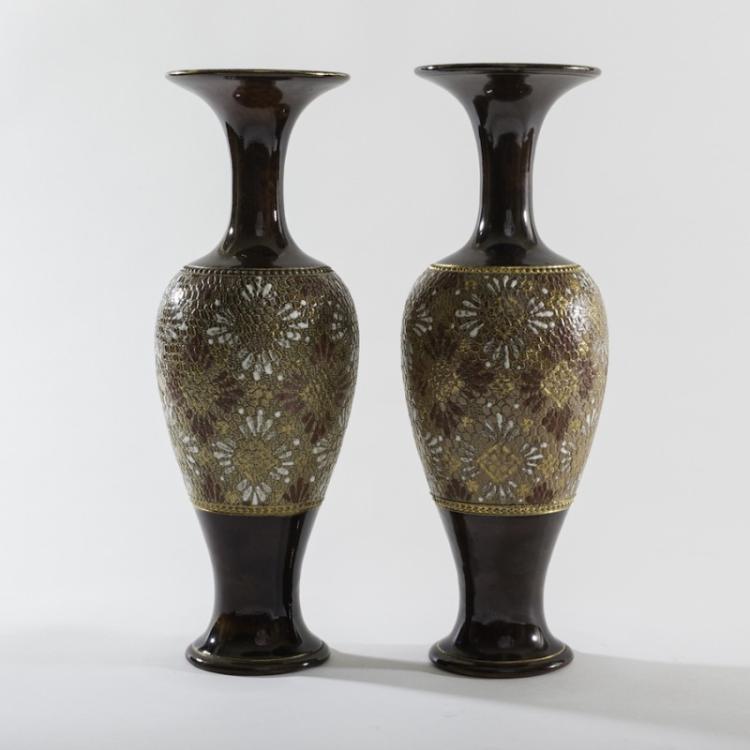 Pair Of Royal Dalton Decorated Vases