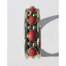 American Indian Handmade Silver Coral Bracelet