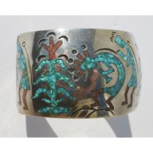 Inlaid American Indian Sterling Cuff