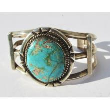 Large Sterling Cuff with Oval Turquoise Center
