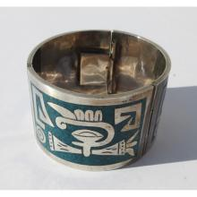 Mexican Tripartite Sterling and Turquoise Bracelet