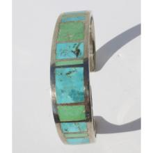 Sterling Cuff with inlaid Turquoise