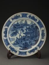 Blue and White Landscaping Porcelain Plate