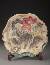 A Fine Carved Lotus Plate, 18c-19c
