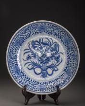Blue And White Lotus Porcelain Charger
