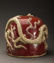 Vintage Red Glazed Dragon Decorative Item