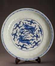 17th/18th Blue And White Qi Lin Porcelain Charger