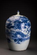 Blue and White Porcelain Melon-shape Jar
