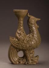 Glazed Phoenix-shaped Candle Holder