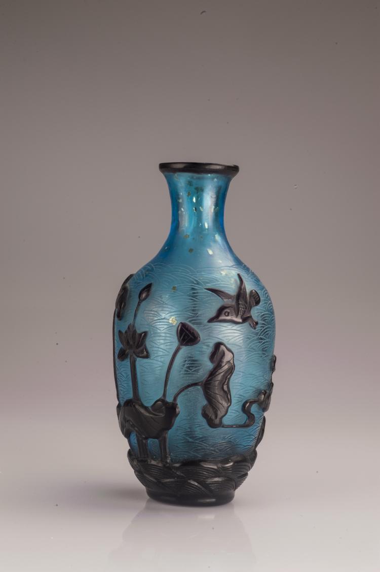 Blue Glass Flower Vase